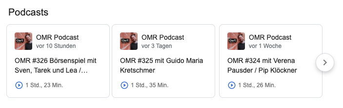 OMR Podcast in der Google Suche