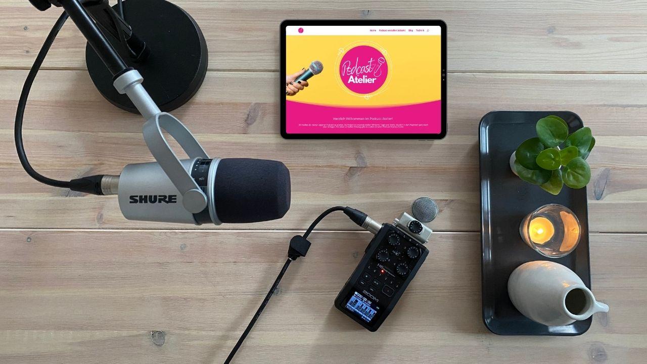 Shure-MV7-im-Podcast-Setup